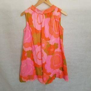 1960s Campus Girl Hawaiian Print Shift Dress